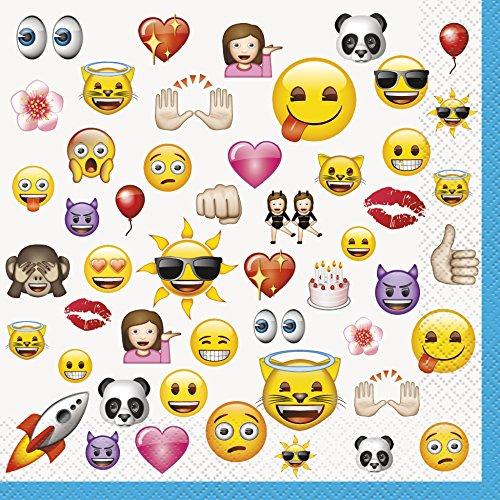 Lot de 16 serviettes en papier Motif emoji 16,5 cm 0011179506019 Unique Party