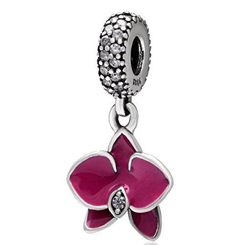 En argent sterling 925 émail Radiant Orchidée dnagle Charms Pandora  Bracelet avec pendentif en zircone cubique rose orchidée émail DIY  Accessoires ...