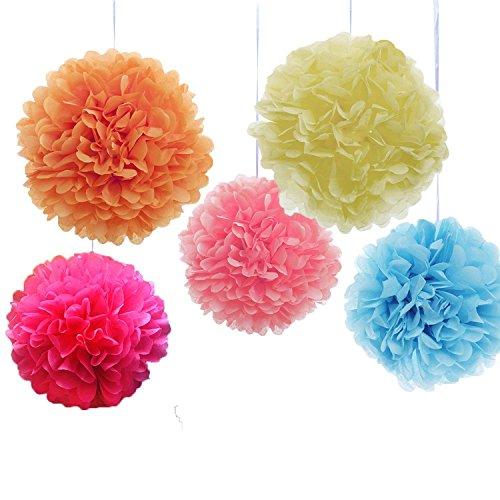 Goodlucky365 10 pompon papier de soie boule fleur tissu artificielle mariage decoration - rose ...
