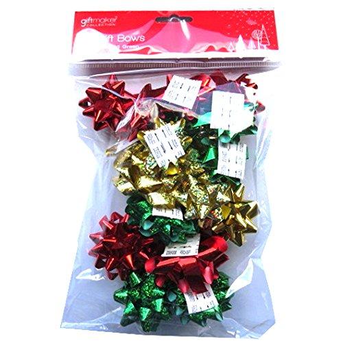 Noël Cadeaux Noeuds - Or, Rouge et Vert - Paquet de 20 5012128442070 Anker International