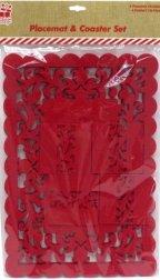 Noël napperons et Coaster Set Snowflake Dinner Table feutre rouge Mats 8PC 5025572032148 SnowW