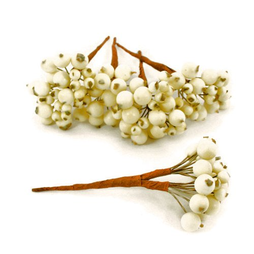 FloristryWarehouse Lot de 8 bouquets de baies artificielles, 192 baies, 13cm, couleur blanc creme