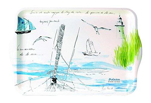 JD Diffusion 417FLEU Marche aux Fleurs Plateau Festonne Multicolore 53 x 38 cm