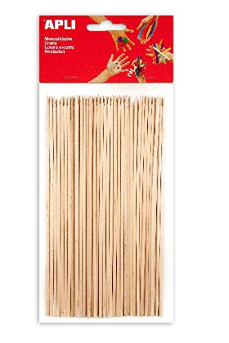 APLI Sachet de 50 pics en bois bouts pointus couleurs assorties 200 x 3 mm 8410782134831 Apli