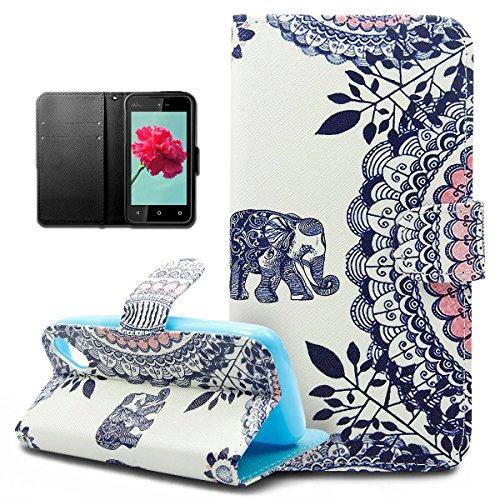 Coque Wiko Sunset 2,Etui Wiko Sunset 2, ikasus® Coque Wiko Sunset 2 Bookstyle Étui Housse en Cuir Case, Motif de fleurs colorées plumes peintes ...