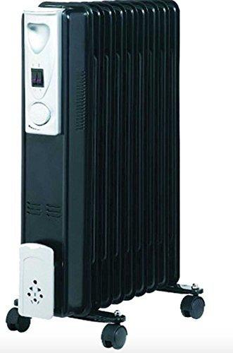 NEUF PORTABLE 7 AILERON 1,5kw électrique RADIATEUR HUILE RADIATEUR THERMOSTAT NOIR B01MSFNN10 Wheels N Bits